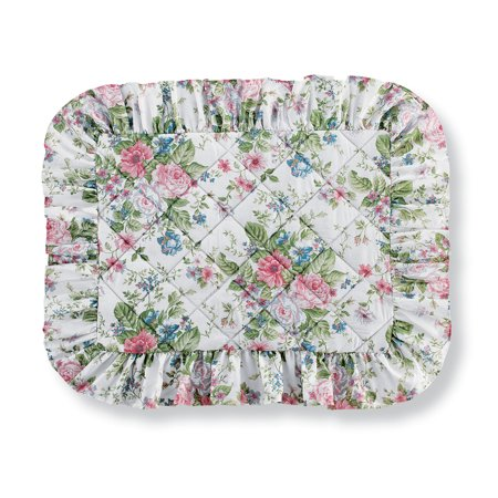 Floral Pillow Sham - Floral Bouquet with Shades of Pink, Blue, and Sage Quilted Pillow Sham with Ruffled Trim - Seasonal Bedding, Sham, Multi