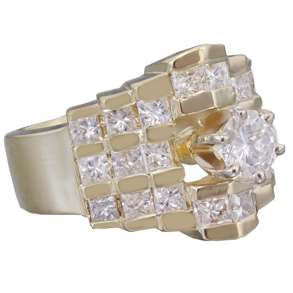 14k Yellow Gold Round And Princess Cut Diamond Engagement Ring Prong 1.70ctw