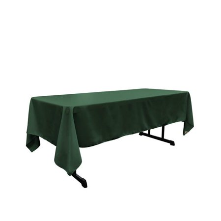 Green Linen Tablecloth (LA Linen TCpop60x126-GreenHuP20 Polyester Poplin Rectangular Tablecloth, Hunter Green - 60 x 126 in.)