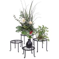Ktaxon 4 Plant Stand with Round Pattern in Black Baking Paint