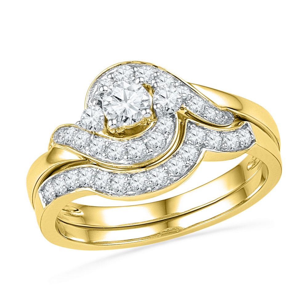kt yellow gold womens round diamond swirl bridal wedding