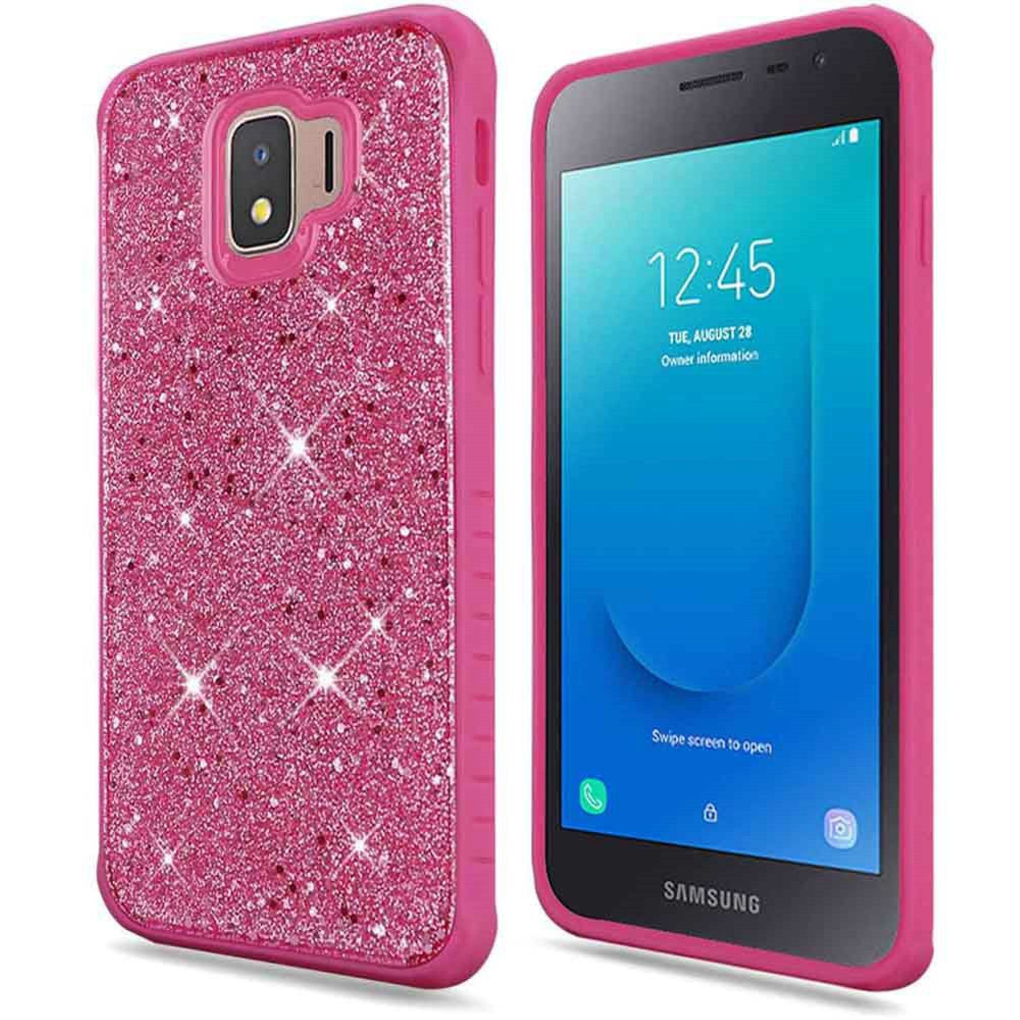 Samsung Galaxy J2 (2019) Case, by Insten Full Frozen Crude Glitter Dual Layer Hybrid PC/TPU Rubber Case Cover For Samsung Galaxy J2 (2019) - Hot Pink