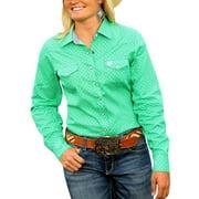 Cinch Western Shirt Womens L/S Pockets Snap Necktape Green MSW9200007