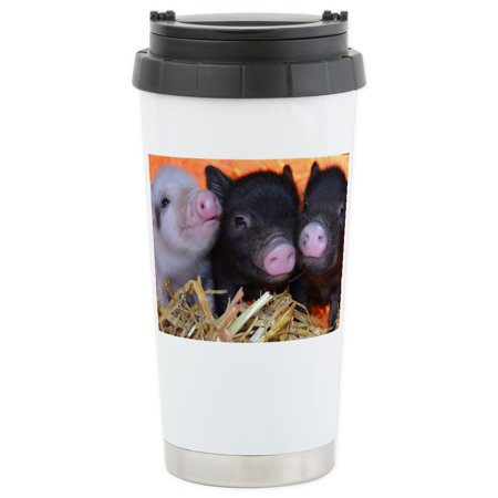 CafePress - 3 Little Micro Pigs Stainless Steel Travel Mug - Stainless Steel Travel Mug, Insulated 16 oz. Coffee Tumbler