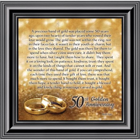 Bands of Gold, 50th Wedding Anniversary Gift Picture Frame, 10x10 8608 (Anniversary Autograph Photo Frame)