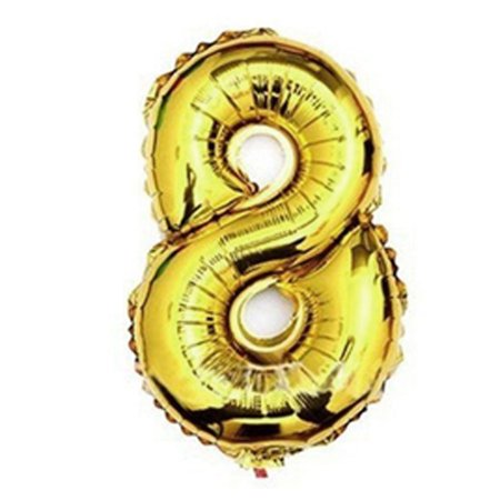Unique Bargains Foil Number 8 Shape Helium Balloon Birthday Wedding Decor Gold Tone 30