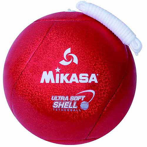 Mikasa 2-Ply Butyl Bladder Stitched Soft Shell Ultra Tetherball with Rope, Candy Apple Red