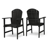 Easter Outdoor Weather Resistant Acacia Wood Adirondack Dining Chairs (Set of 2), Dark Gray Finish