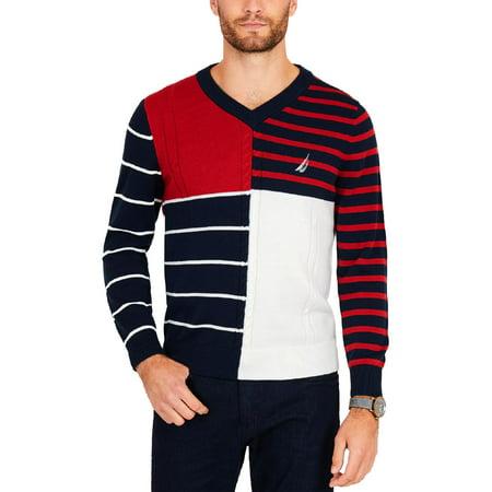 Nautica Mens V-Neck Long Sleeves Sweater Indigo Long Sleeve Sweater