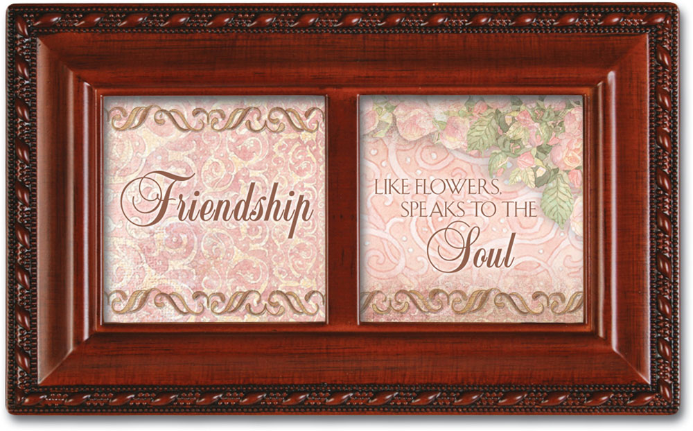 Friendship Petite Woodgrain Music Box Plays Friends Are For by