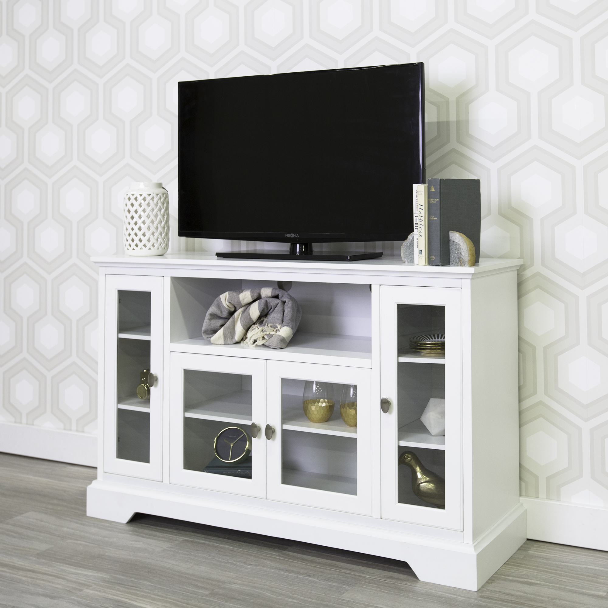 """Walker Edison Highboy-Style Wood Media Storage TV Stand Console for TVs up to 55"""", Multiple Finishes"""
