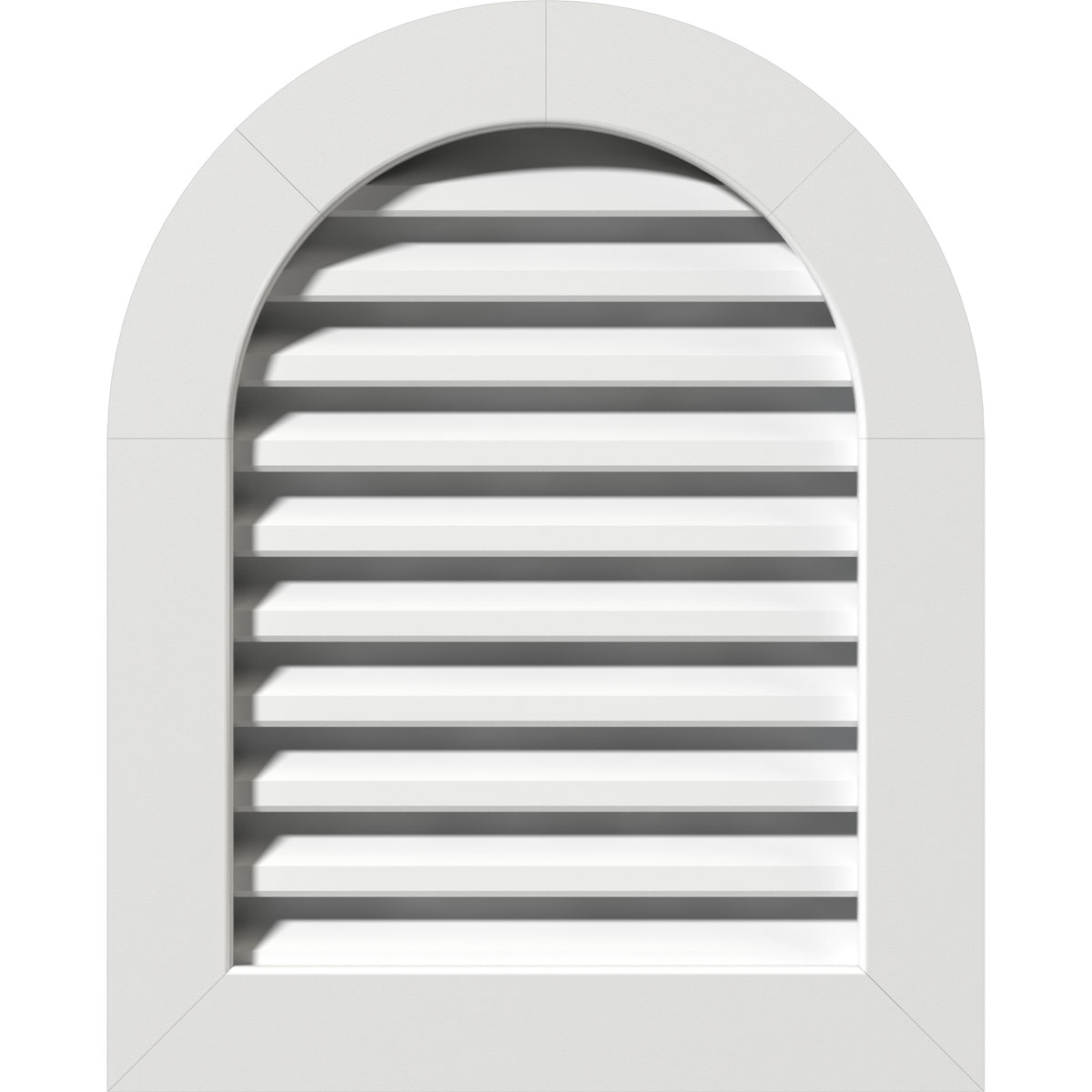 "14""W x 20""H Round Top Gable Vent (19""W x 25""H Frame Size): Unfinished, Functional, PVC Gable Vent w/ 1"" x 4"" Flat Trim Frame"
