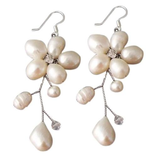 Aeravida Handmade Sterling Silver 'Dreamy Nature' Pearl Earrings (Thailand)