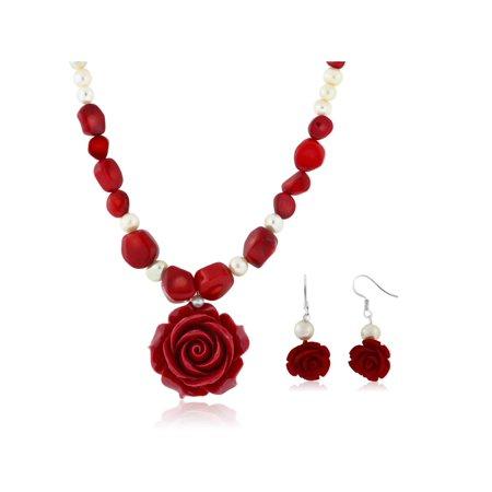 Coral Necklace Bracelet Earring - 18
