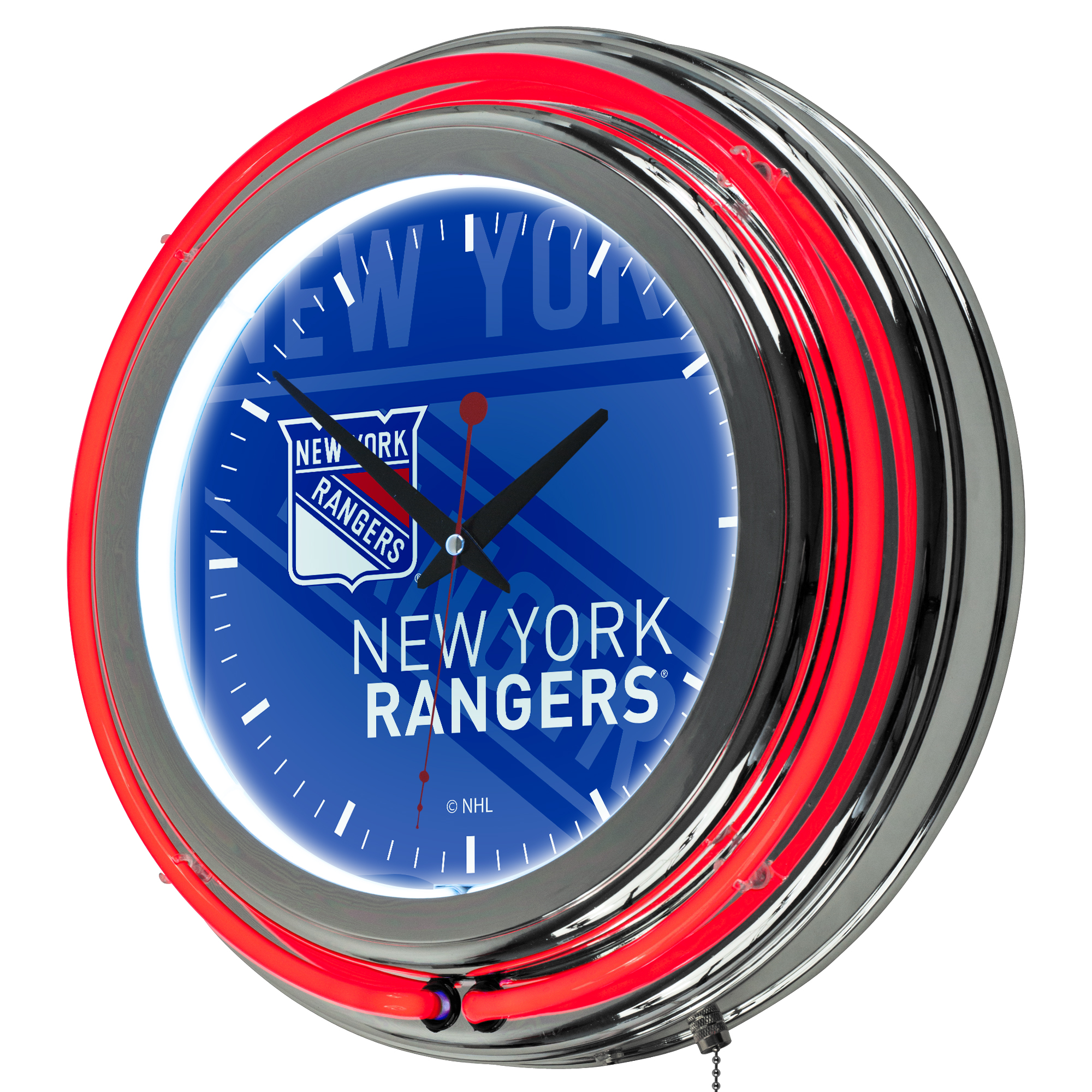 NHL Chrome Double Rung Neon Clock - Watermark - New York Rangers