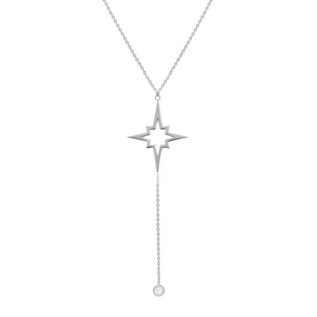 Amanda Rose Star and Cubic Zirconia Lariat Necklace in Sterling Silver on a 16-18 in. Adjustable