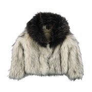 GUESS Womens Faux Fur Jacket, off-white, X-Small