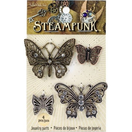 - Steampunk Charms: Butterfly Charm Pack in Antique Gold, Copper & Silver