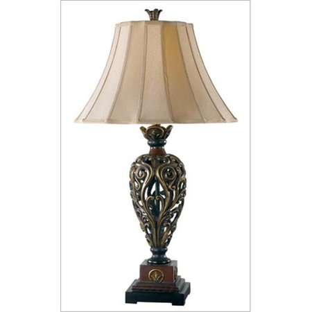 Iron Lace Table Lamp- Golden Ruby Finish