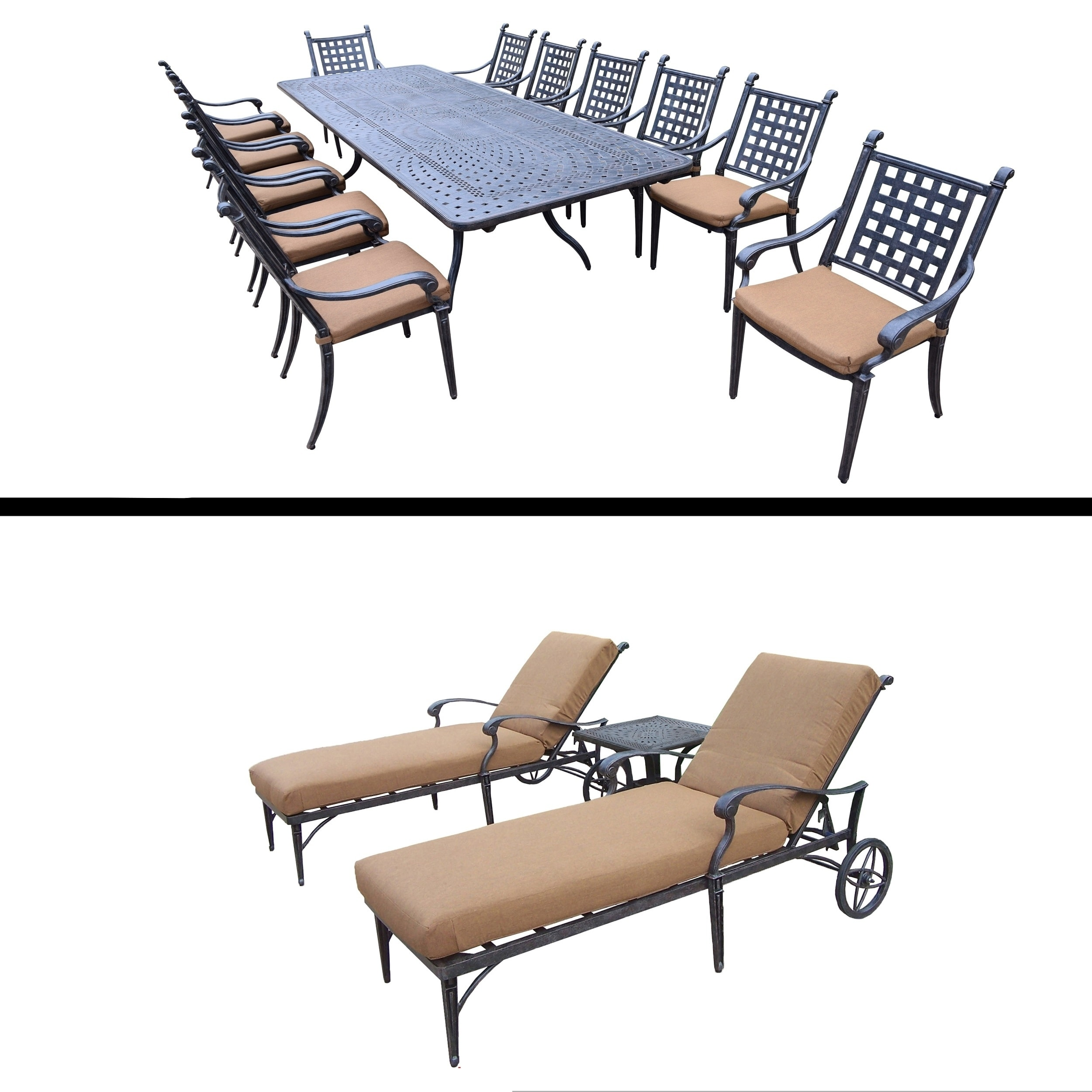 Oakland Living 13 Pc Dining Room Set with Extendable Table and 3 Pc Lounge Set by Overstock