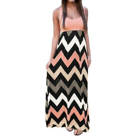 Ladies Apparel - Women Sleeveless Scoop Neck Empire Waist Chevron Maxi Dress Pale Pink L