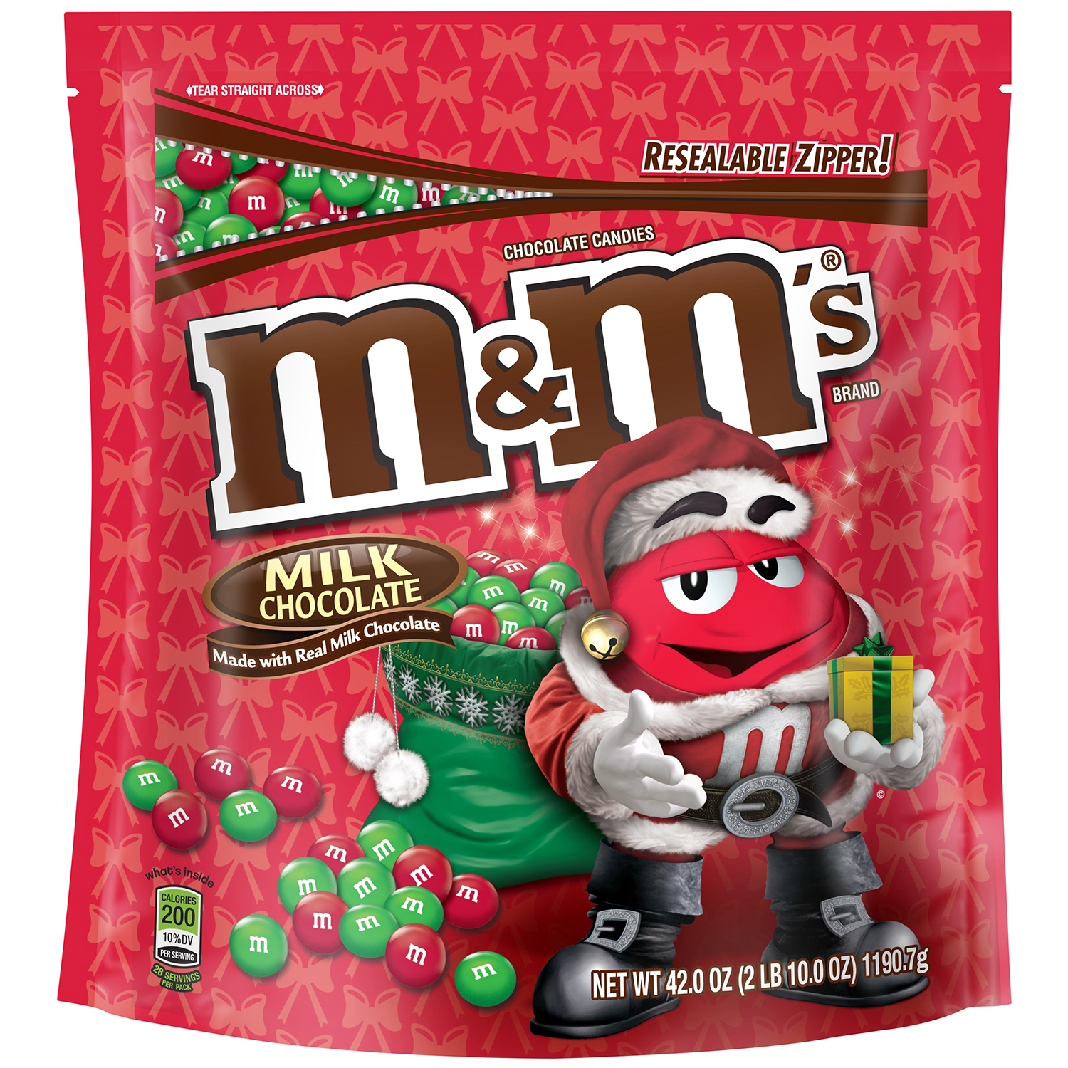 M&M'S Holiday Milk Chocolate Candy Party Size Bag, 42 oz