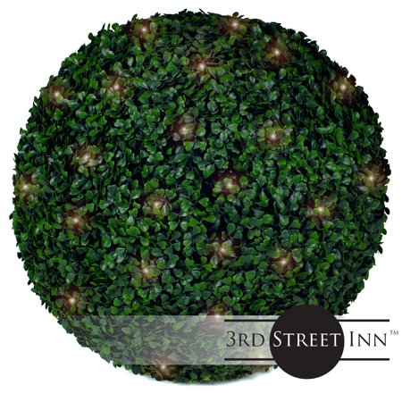 Christmas Topiary Balls.3rd Street Inn Boxwood Lighted Topiary Ball 19 Artificial Pre Lit Christmas Topiary Plant Indoor Outdoor Decorative Light Plant Ball Wedding