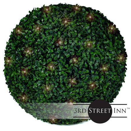 3rd Street Inn Boxwood Lighted Topiary Ball - 19