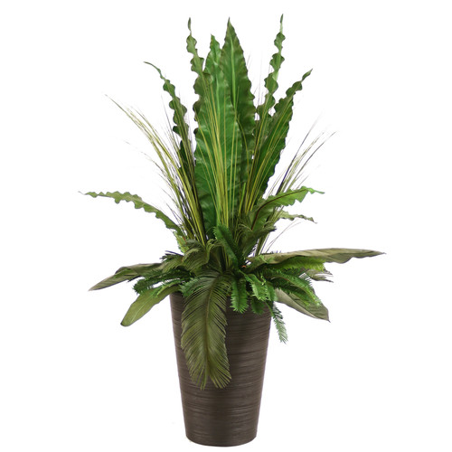 Distinctive Designs Silk Tropical Leaves with Grass and Palms Floor Plant in Planter