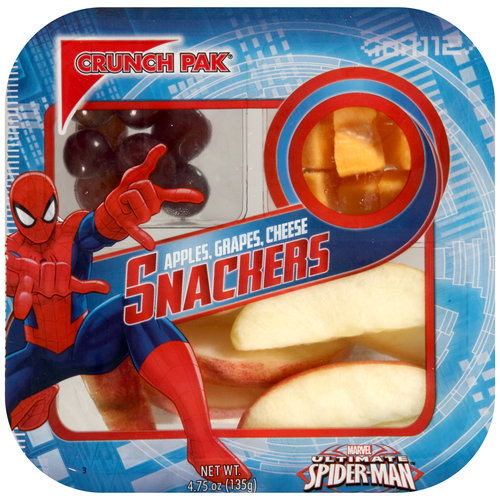 Crunch Pak Marvel Ultimate Spiderman Snackers Apples, Grapes, Cheese, 4.75 oz