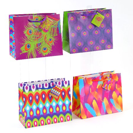 Horizontal Medium Peacock Design Gift Bags