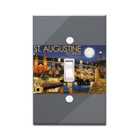 St. Augustine, Florida - Night Scene - Lantern Press Artwork (Light Switchplate Cover)