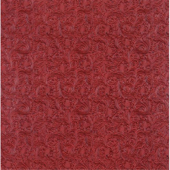 Designer Fabrics G251 54 inch Wide Red, Intricate Floral Designed Upholstery Faux Leather