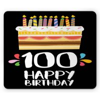 100th Birthday Mouse Pad, Old Legacy 100 Birthday Party Cake Candles on Black Major Milestone Backdrop, Rectangle Non-Slip Rubber Mousepad, Multicolor, by Ambesonne