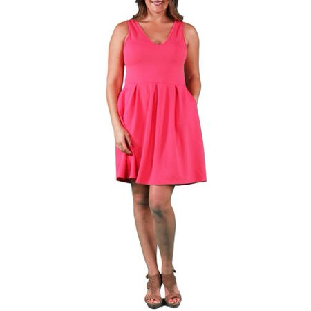 80535f77f65 24 7 Comfort Apparel - Women s Plus Size Sleeveless A-line Dress -  Walmart.com