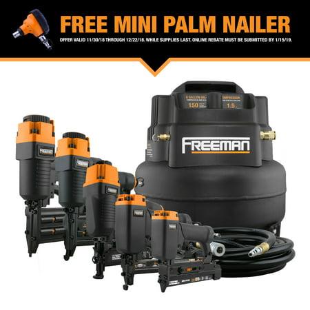 D500 Compressor - Freeman 5-Piece Nailer Kit w/6 Gallon Air Compressor & Accessories P5PCKW with Free Palm Nailer