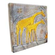 Stoneage Arts Handmade Giraffe and Baby Wall Panel (Indonesia)