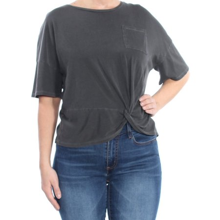 LUCKY BRAND Womens Gray Pocketed Twist Hem Short Sleeve Crew Neck T-Shirt Top  Size: L Cotton Short Sleeve Camp Shirts