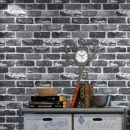 Flat Faux Brick Stone Wallpaper Roll 3D Effect Blocks Vintage Home Decoration Gray