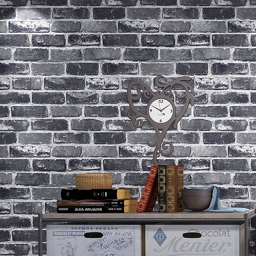 Flat Faux Brick Stone Wallpaper Roll 3D Effect Blocks Vintage Home Decoration Gray