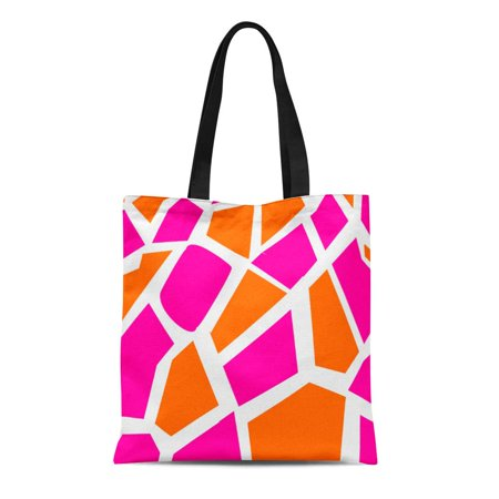 ASHLEIGH Canvas Tote Bag Giraffes Funky Pink Orange Giraffe Girly Pattern Wild Reusable Handbag Shoulder Grocery Shopping Bags - Orange Tote Bag