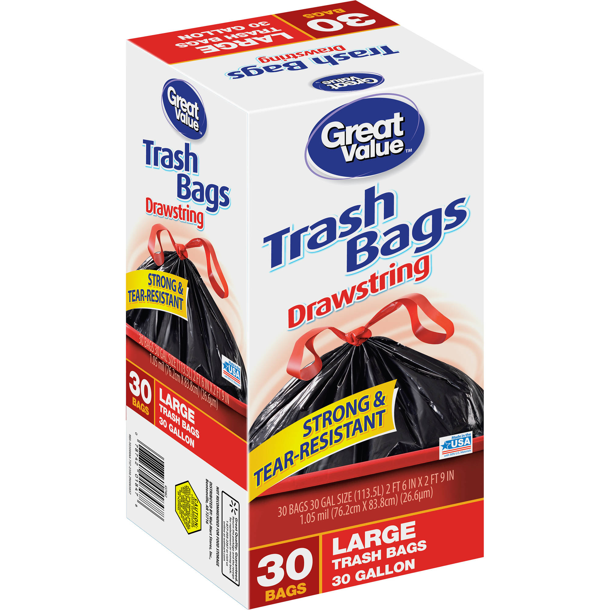 Great Value Drawstring Large Trash Bags, 30 gal, 30 count
