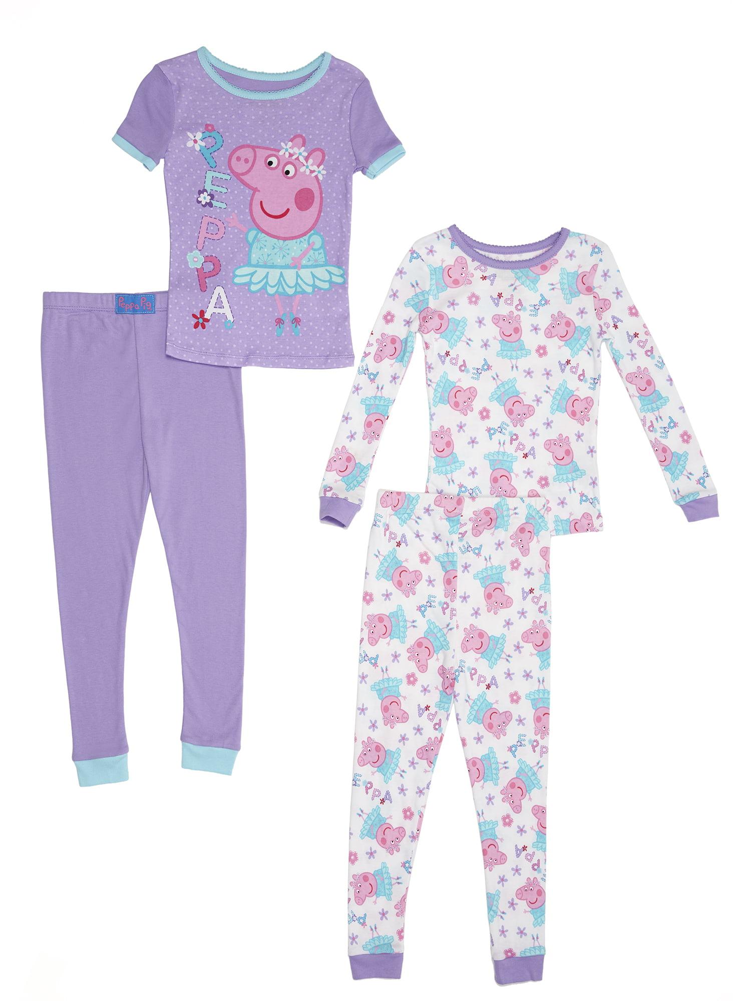 Toddler Girl Cotton Tight Fit Pajamas, 4pc Set