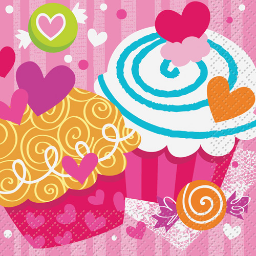 Cupcake Hearts Valentine Beverage Napkins, 16-Count by Unique Industries