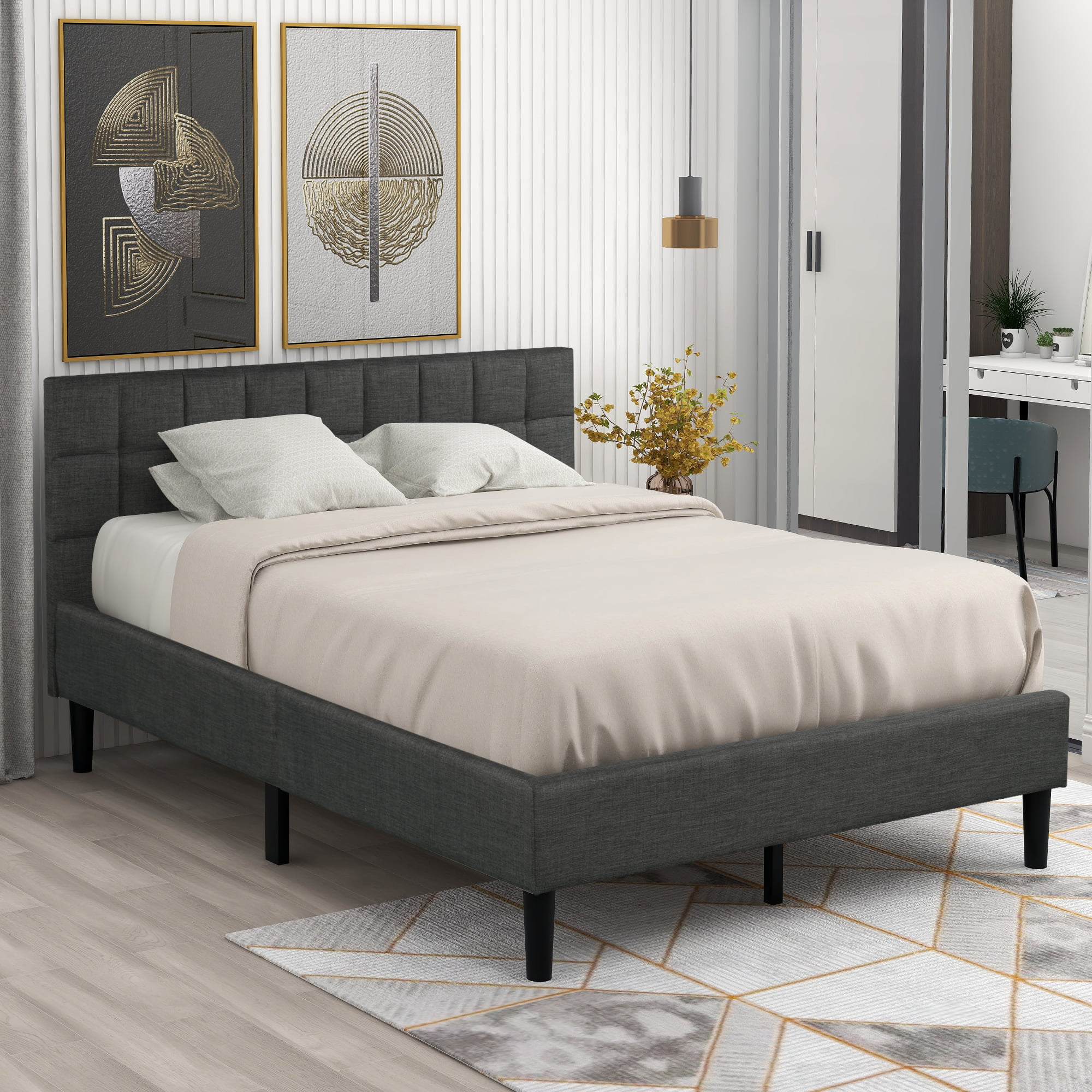 Queen Bed Frames For Kids Heavy Duty Wood Queen Platform Bed Frame With Headboard Upholstered Queen Bed Frame No Box Spring Needed Great For Boys Girls Modern Bedroom Furniture Gray W11846