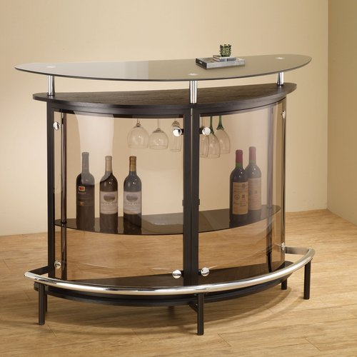 Coaster Contemporary Bar Unit, Black/Chrome