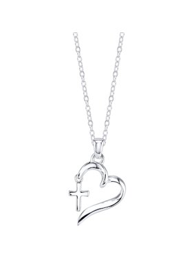 "Sterling Silver ""Faith Hope Love"" Heart with Cross Necklace, 18"""