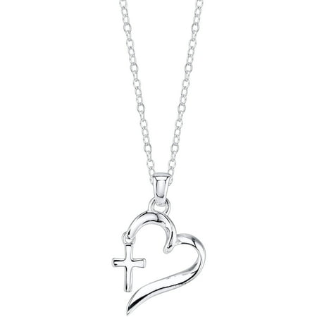 Sterling Silver Faith Hope Love Heart with Cross (Silver Diamond Cut Criss Cross)