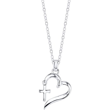 Sterling Silver Faith Hope Love Heart with Cross Necklace Asian Sterling Silver Necklace