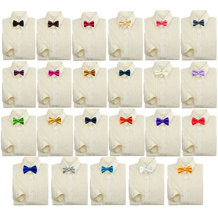 - Baby Kids Boy Formal Party Suit IVORY Button Down Dress Shirt Color Bow tie 0-7